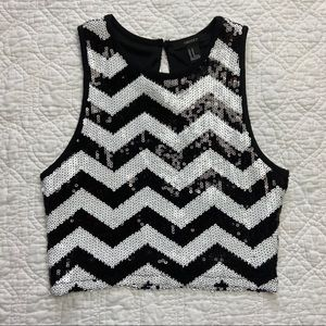 Forever 21 Chevron sequin crop top MD
